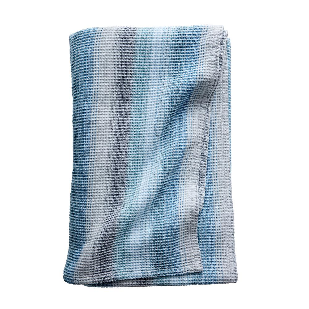 Prism Blue Cotton Twin Woven Blanket
