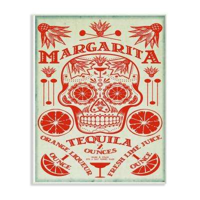 "12.5 in. x 18.5 in. ""Margarita Tequila Sugar Skull with Agave Orange and Lime"" by Fig & Melon Press Wood Wall Art"