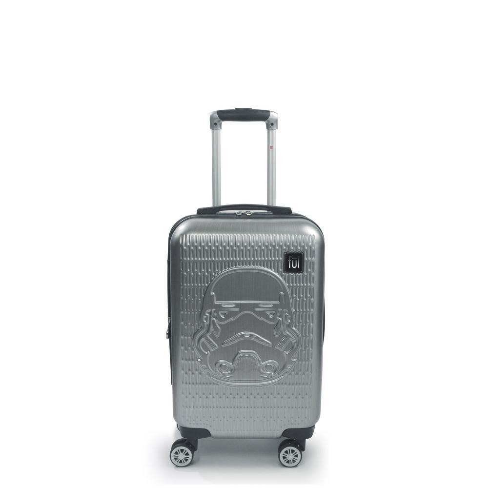 Storm Trooper 22 in. Silver Embossed Spinner Suitcase