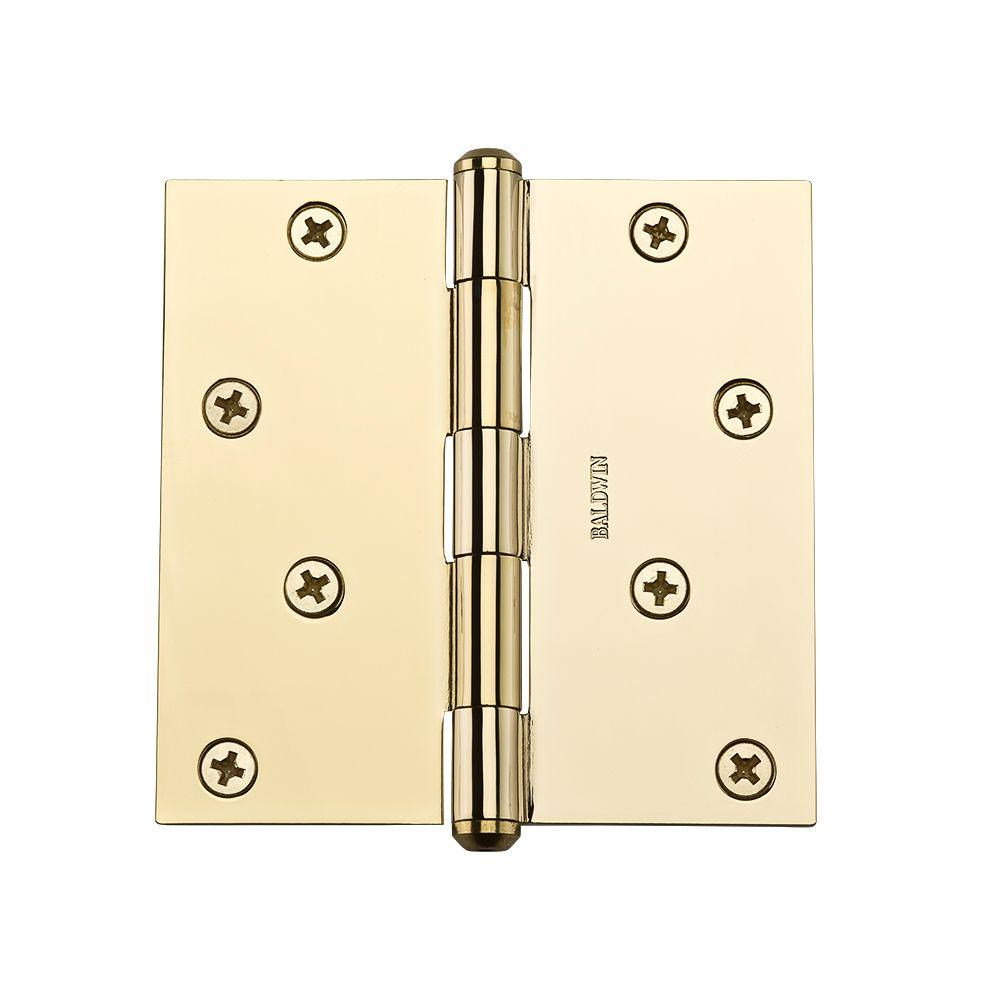 4 in. Polished Brass Square Hinge