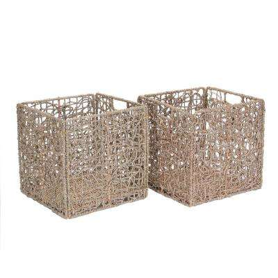 12 in. x 12 in. Square Handmade Water Hyacinth Wicker Foldable Basket in Natural (2-Pack)