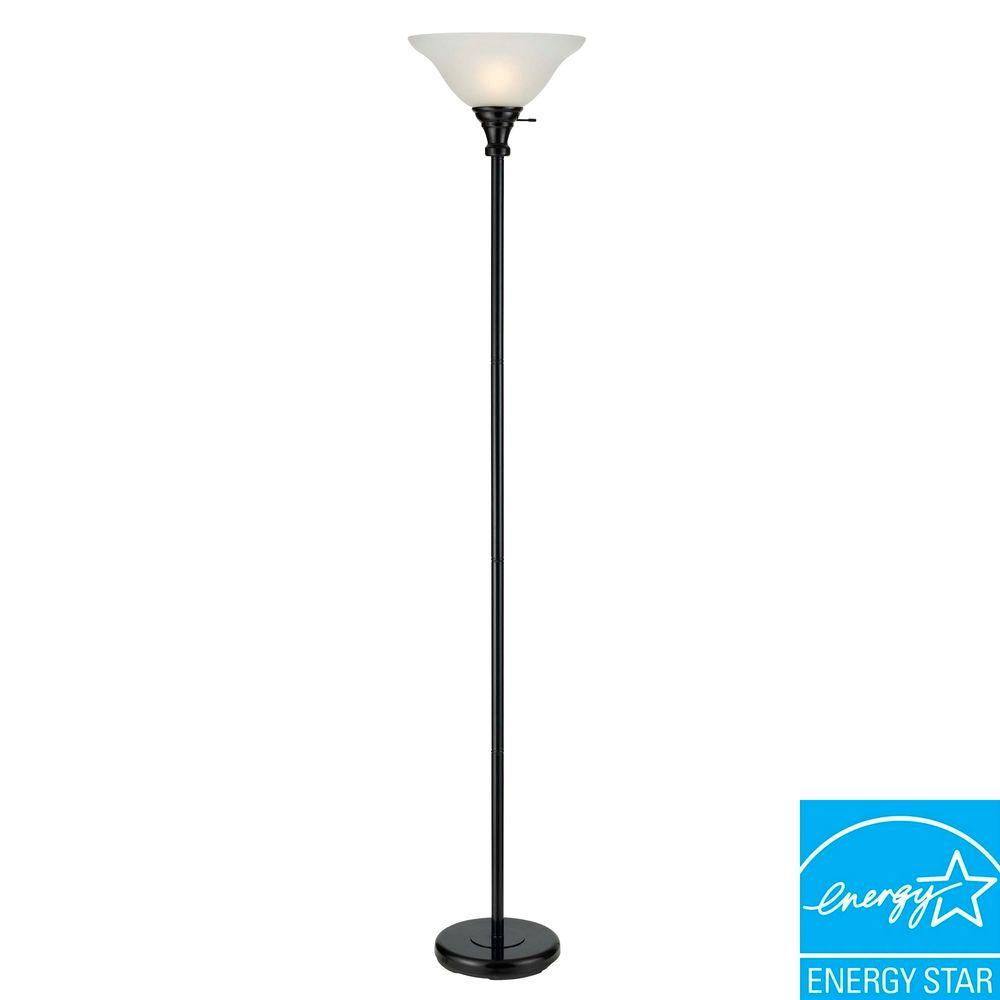 Cal Lighting 70 In Black Metal Torchiere With Gl Shade