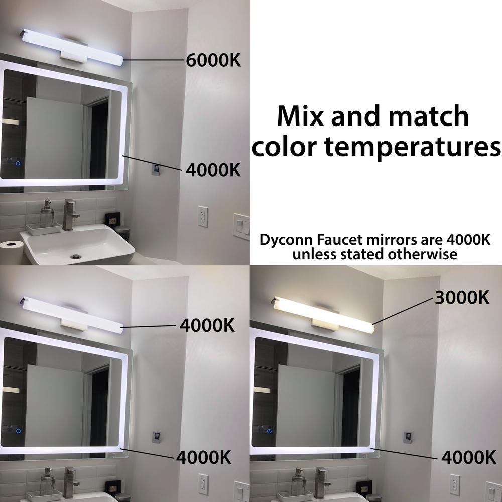 Dyconn Royal 48 In X 36 Led Wall Mounted Backlit Vanity Bathroom Mirror With Touch On Off Dimmer