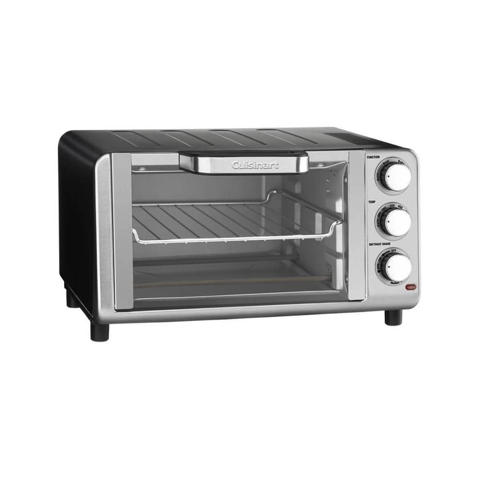 Stainless Steel 4-Slice Compact Toaster Oven Broiler, Silver/Black Cuisinart Compact Toaster Oven Broiler features 1400 watts of power and is compact and counter-friendly. It offers 0.35 cu. ft. capacity and fits a 9 in. pizza or 4 slices of bread. This combinational unit offers 4 functions in 1, including toast, bake, broil, and keep warm. It includes slide-out crumb tray, boiling rack, and baking tray. It provides convenient hands-free auto-slideout rack and has an easy-clean nonstick interior. Color: STAINLESS STEEL/BLACK.