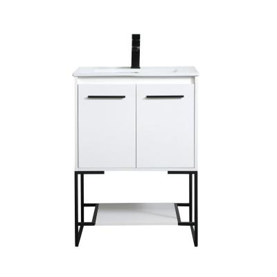 Timeless Home 24 in. W x 18.31 in. D x 33.46 in. H Single Bathroom Vanity in White with Porcelain