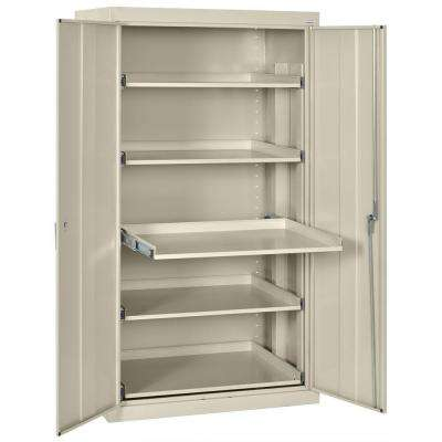 66 in. H x 36 in. W x 24 in. D 5-Shelf Heavy Duty Steel Freestanding Storage Cabinet with Pull-Out Tray in Putty