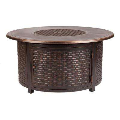 Florence 47 in. x 24 in. Round Aluminum Propane Fire Pit Table in Antique Bronze with Vinyl Cover