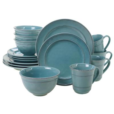 Orbit 16-Piece Traditional Teal Ceramic Dinnerware Set (Service for 4)