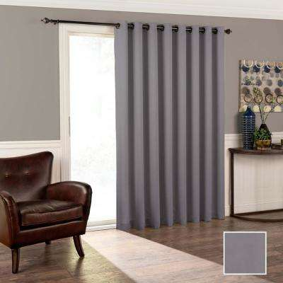 Tricia 84 in. L Polyester Grommet Curtain in Grey (1-Pack)
