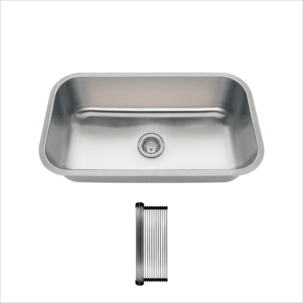 All-in-One Undermount Stainless Steel 32-1/4 in. Single Bowl Kitchen Sink