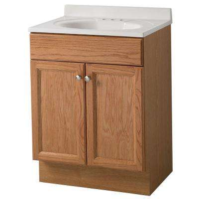 24 in. W x 36 in. H x 19 in. D Bath Vanity in Oak with Cultured Marble Vanity Top in White