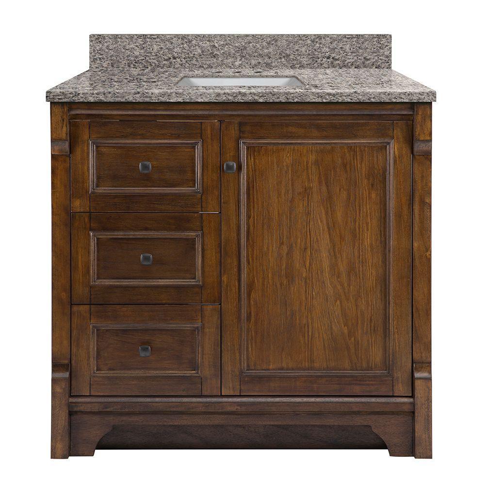 Creedmoor 37 in. W x 22 in. D Vanity in Walnut with Granite Vanity Top in Sircolo with White Sink