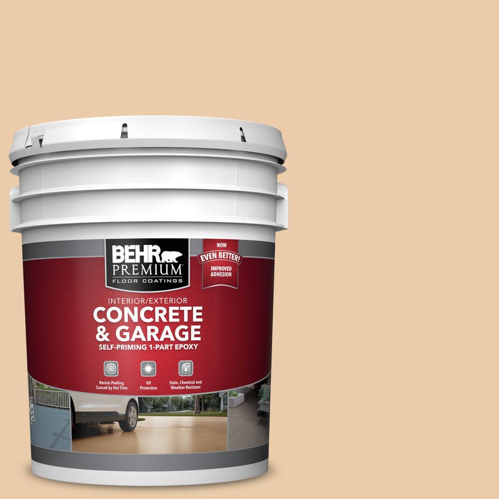 BEHR PREMIUM 5 gal. #PFC-21 Grain Self-Priming 1-Part Epoxy Satin Interior/Exterior Concrete and Garage Floor Paint