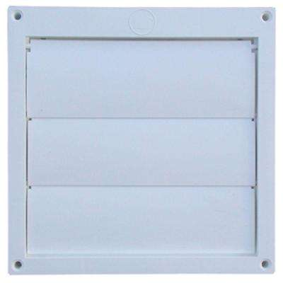6 in. Louvered Plastic Flush Exhaust Hood in White without Tail Pipe