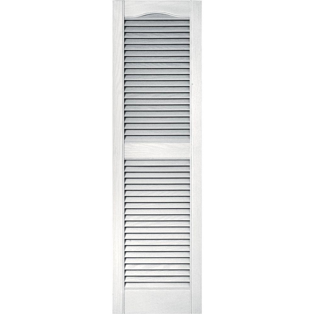15 in. x 52 in. Louvered Vinyl Exterior Shutters Pair in