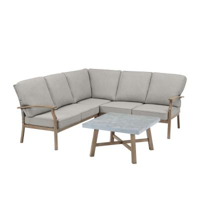 Beachside Rope Look Wicker Outdoor Patio Sectional Sofa Seating Set with CushionGuard Stone Gray Cushions