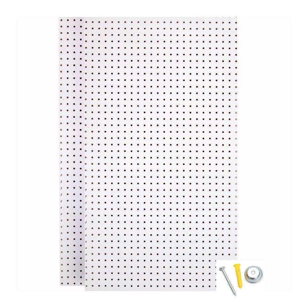 24 in. H x 42 in. W Pegboard 2-Pack White High-Density Fiberboard