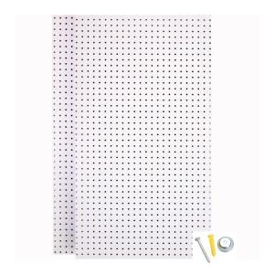 Triton 1 4 In Custom Painted Blissful White Pegboard Wall Organizer With 36 Piece Locking Hooks Tpb 36wh Kit The Home Depot