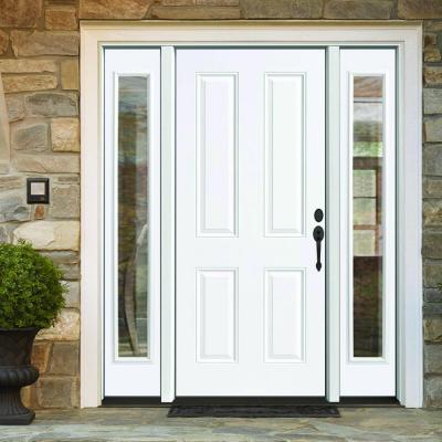 60 in. x 80 in. 4-Panel Primed White Left-Hand Steel Prehung Front Door with 10 in. Clear Glass Sidelites 6 in. Wall