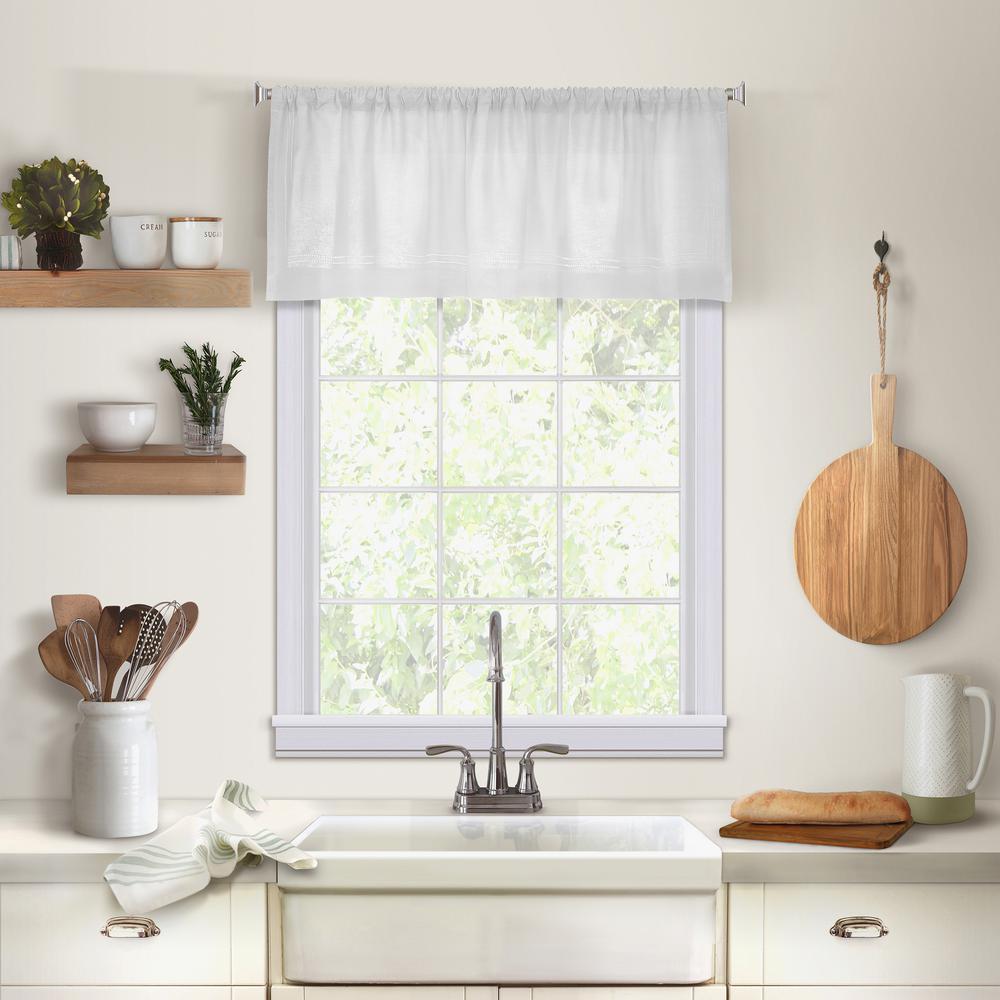 Elrene Cameron Single Window Kitchen Valance in White - 60 in. W x 15 in. L,