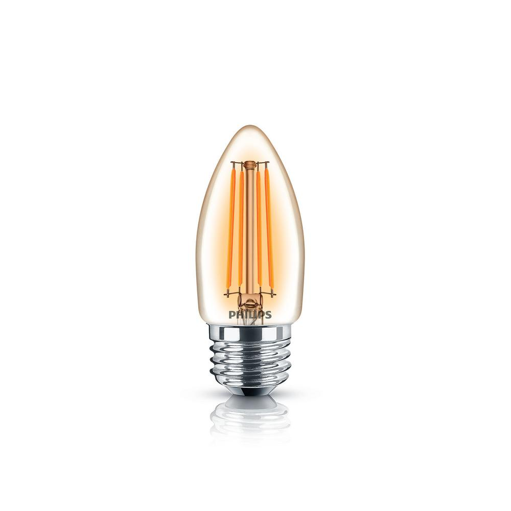 philips 40w equivalent soft white classic glass dimmable b11 candelabra led energy star light. Black Bedroom Furniture Sets. Home Design Ideas