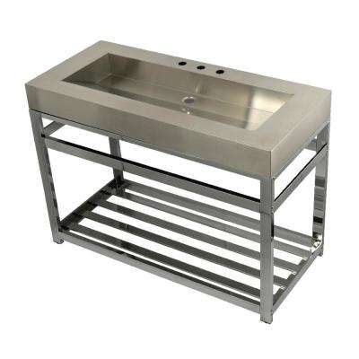 49 in. W Bath Vanity in Chrome with Stainless Steel Vanity Top in Silver with Silver Basin