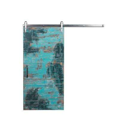 42 in. x 84 in. Reclaimed Aqua Wood Barn Door with Arrow Sliding Door Hardware Kit