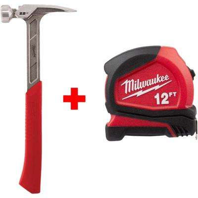 22 oz. Smooth Face Framing Hammer with Free 12 ft. Compact Tape Measure
