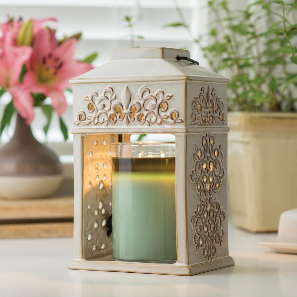 12 in. Fleur de Lis Ceramic Candle Warmer Lantern