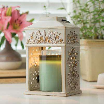 12 in. Fleur de Lis Ceramic Candle Warmer Lantern
