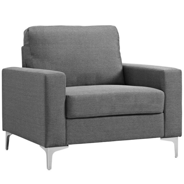 MODWAY Gray Allure Upholstered Arm Chair