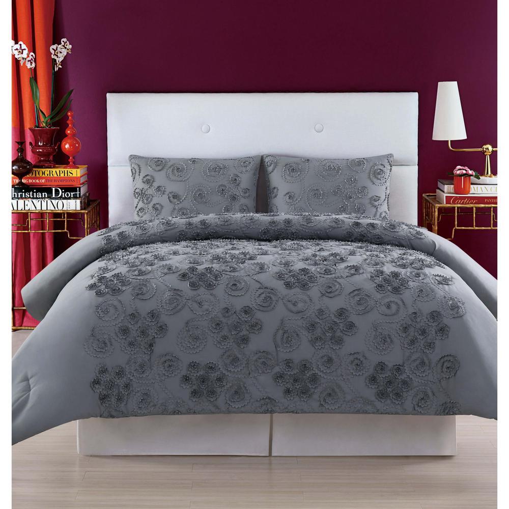 Pretty 3-Piece Grey Full/Queen Comforter Set