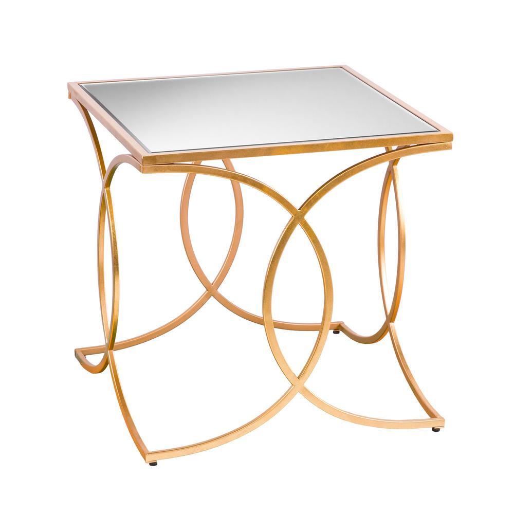 Southern Enterprises Rachel Gold Geometric End Table with...