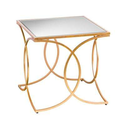 Rachel Gold Geometric End Table with Mirrored Top