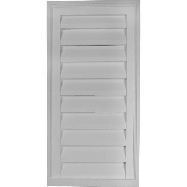18 in. x 36 in. Rectangular Primed PolyUrethane Paintable Gable Louver Vent Functional