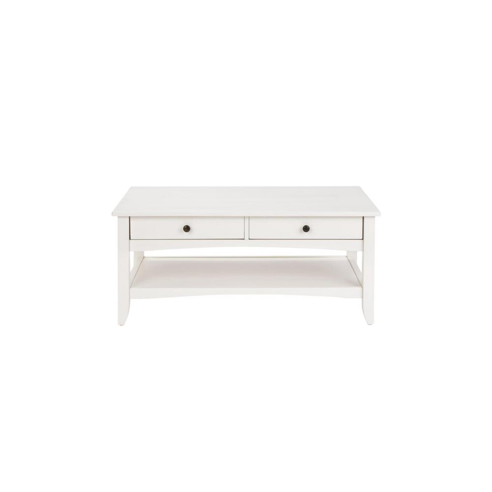 Stylewell Cedar Springs Rectangular White Wood 2 Drawer Coffee Table 42 In W X 18 11 In H Ct 1013 White The Home Depot