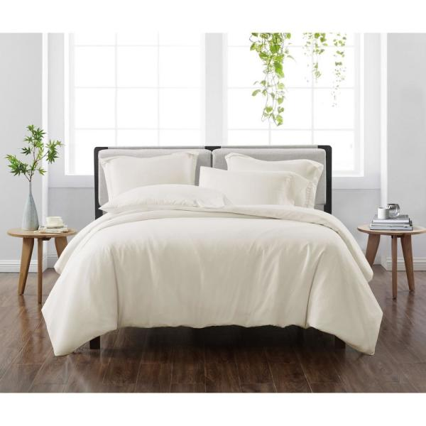 Solid Ivory Full/Queen 3-Piece Duvet Cover Set