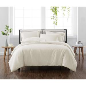 Solid Ivory King 3-Piece Duvet Cover Set