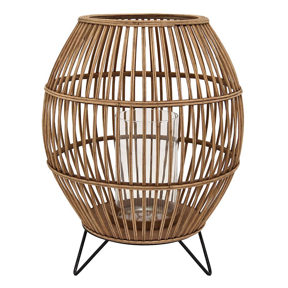 14.5 in. x 14.5 in. Brown Bamboo Lantern
