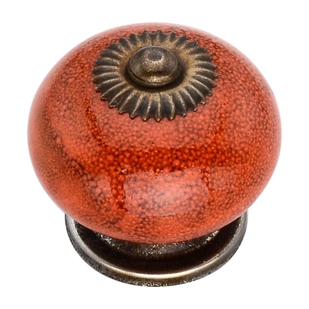 Distressed 1.57 in. Orange Round Cabinet Knob