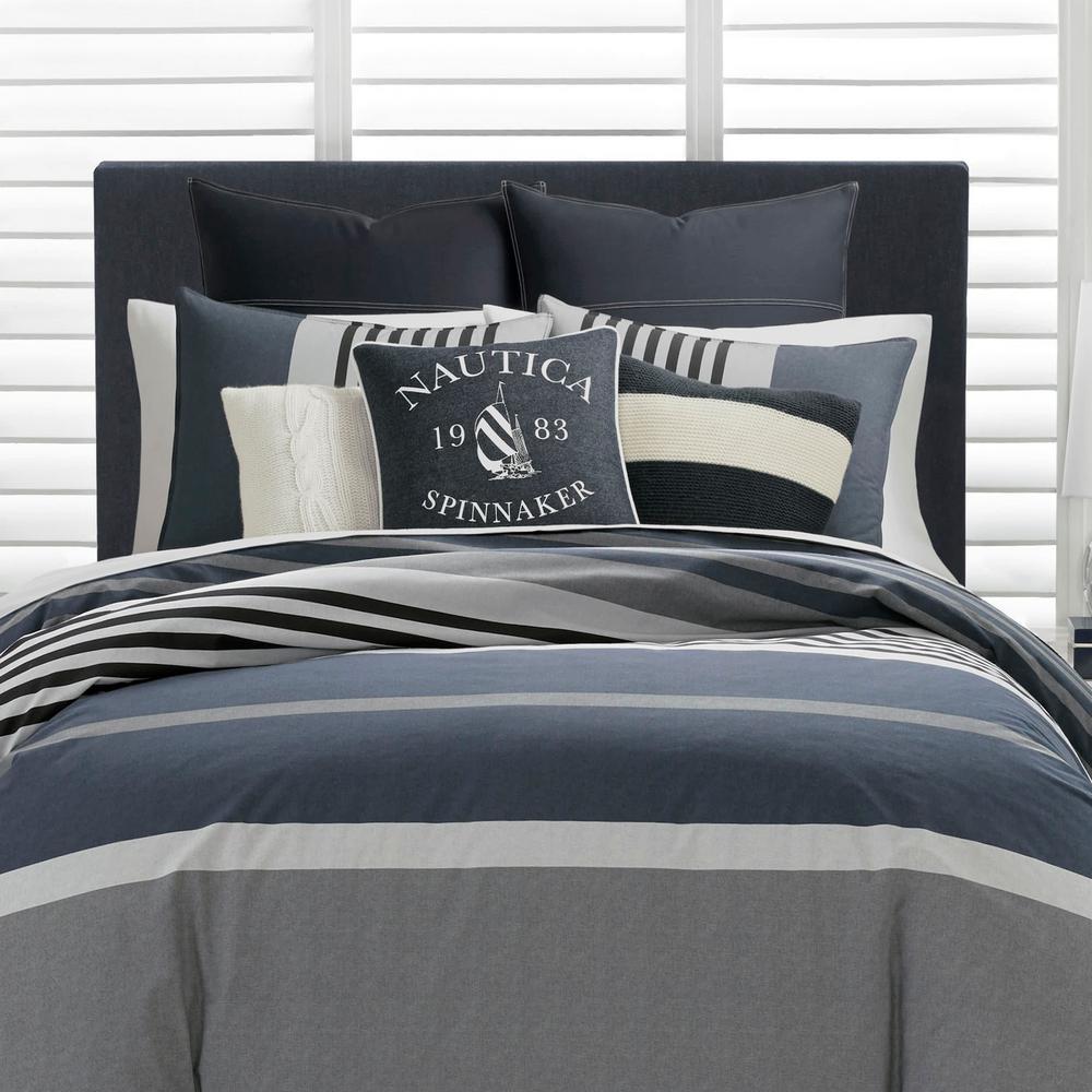 Rendon Charcoal Striped Cotton Comforter Set