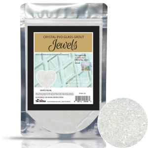 Crystal Glass Grout Jewels White Pearl 75 grams (1-Pack)