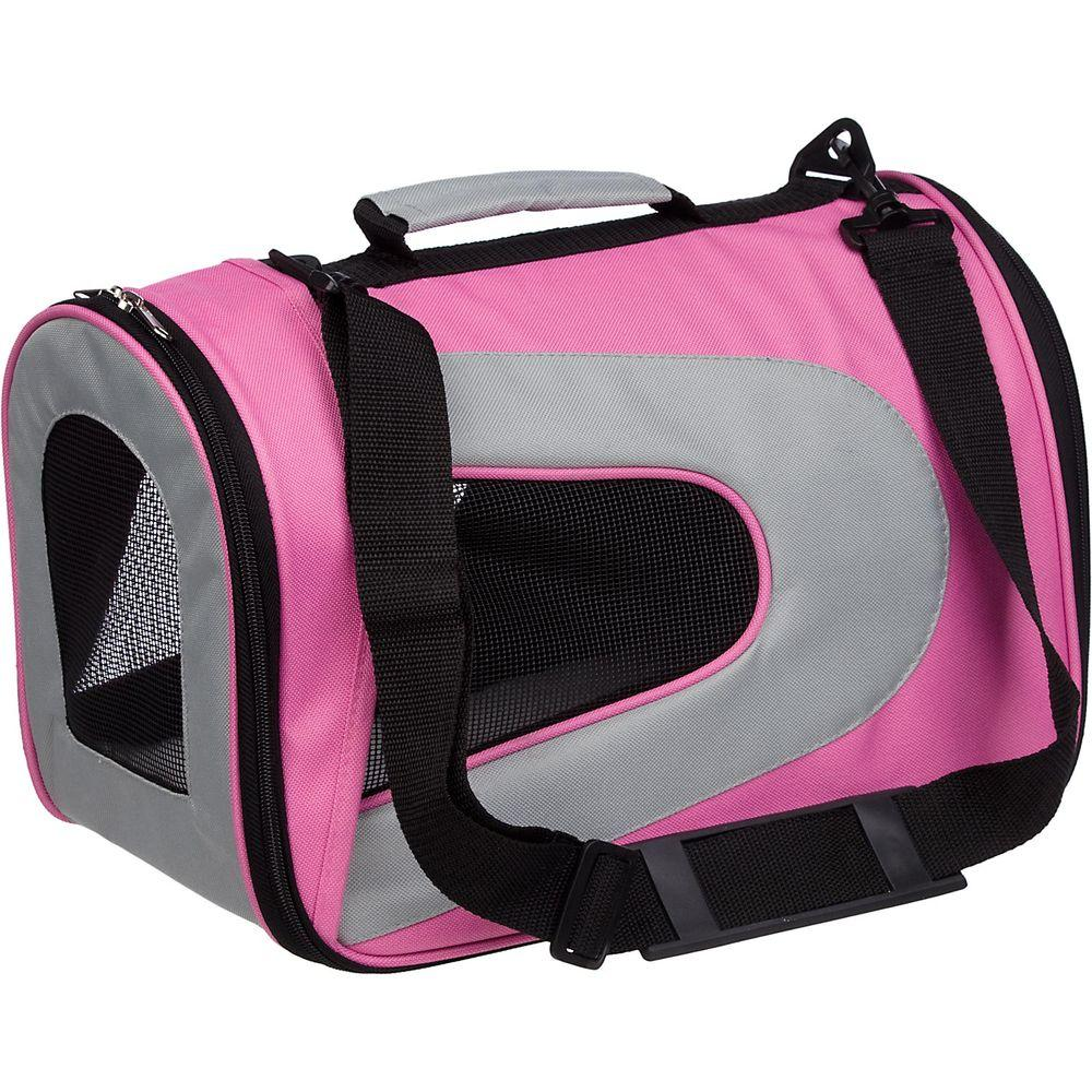 PET LIFE Airline Approved Pink Sporty Folding Zippered Mesh Carrier - Medium