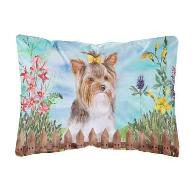 12 in. x 16 in. Multi-Color Lumbar Outdoor Throw Pillow Yorkshire Terrier #2 Spring