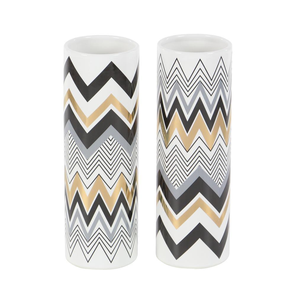 12 in. White Ceramic Decorative Vase with Multi-Colored Chevron Patterns (Set of 2)