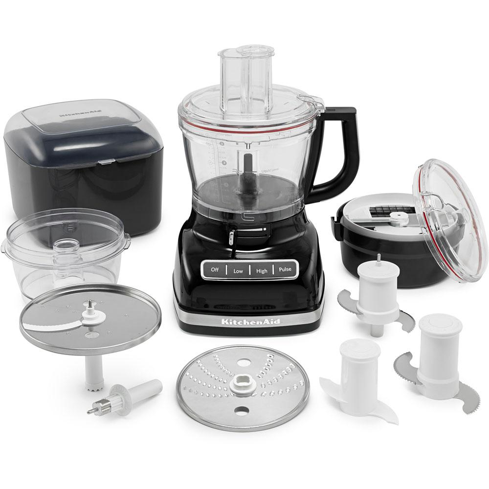 ExactSlice Food Processor, Onyx Black This 14-cup food processor from KitchenAid features the first, residential, hands-free, commercial-style dicing kit and ExactSlice system to slice from thick to thin with one slide of the lever. These features enable you to prep your food safely and efficiently. The UltraTight seal features a specially designed locking system with leak-resistant ring that allows you to fill the work bowl to capacity with ingredients without worrying about making a mess. Slice, dice, shred, knead, and chop with ease so you can enjoy your meal in no time. Color: Onyx Black.