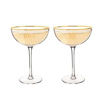 Mr. & Mrs. 8 oz. Gold Rim Coupe Flutes (4-Pack)