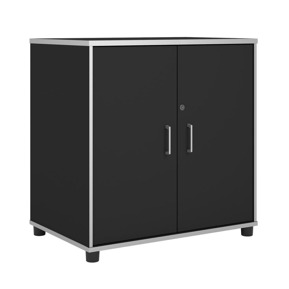 Anchor 30 in. x 29 in. x 19 in. Laminated 2-Door Base Cabinet in Black