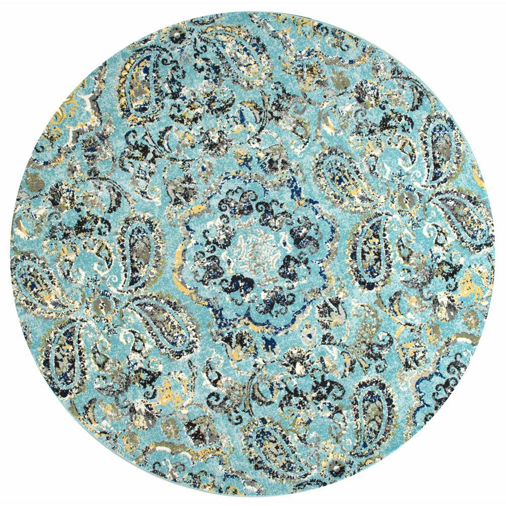 8 Ft Round Area Rug: Taunya Aqua 8 Ft. X 8 Ft. Round Area Rug-RZBD06A-808R