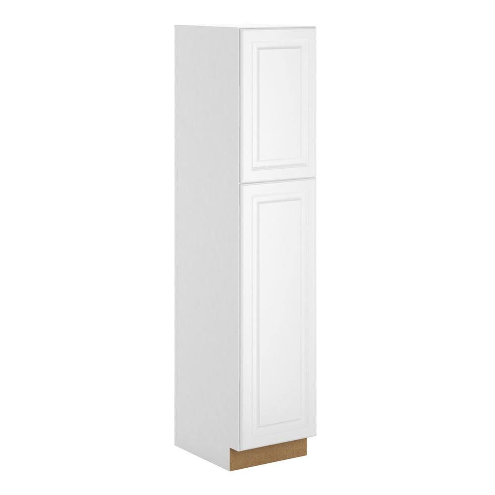 hampton bay madison assembled 18 x 84 x 24 in pantry utility cabinet in warm white p1884 mww. Black Bedroom Furniture Sets. Home Design Ideas
